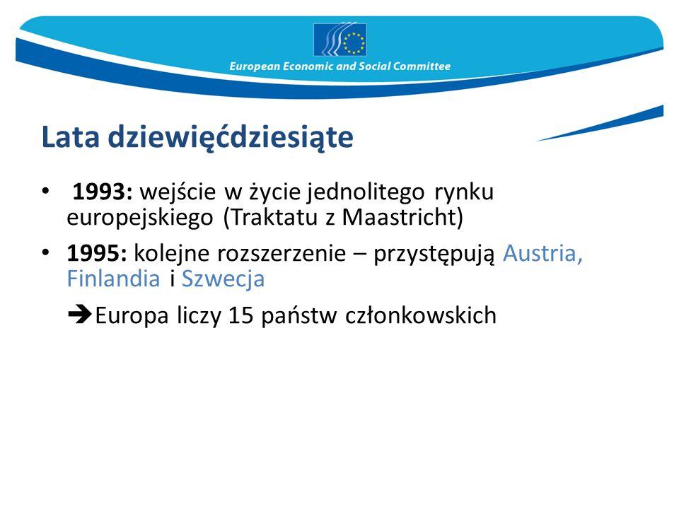 Lata dziewięćdziesiąte 1993: wejście w życie jednolitego rynku europejskiego (Traktatu z Maastricht) 1995: kolejne rozszerzenie – przystępują Austria, Finlandia i Szwecja  Europa liczy 15 państw członkowskich