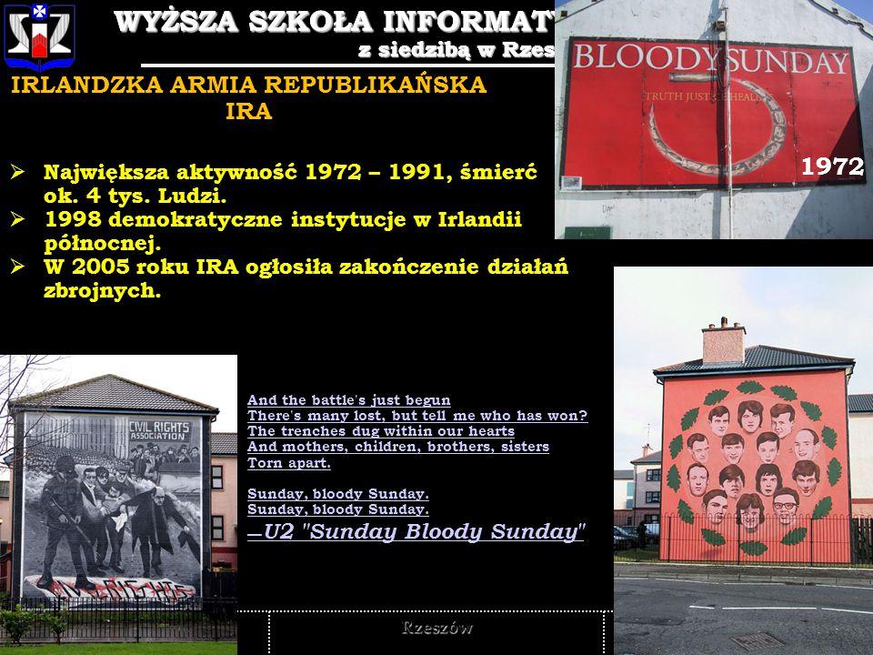 WYŻSZA SZKOŁA INFORMATYKI I ZARZĄDZANIA z siedzibą w Rzeszowie 5 WYŻSZA SZKOŁA INFORMATYKI I ZARZĄDZANIA z siedzibą w Rzeszowie Rzeszów TERRORYZM ZAGROŻENIEM GLOBALNYM 11 WRZEŚNIA 2001 - WTC, 11 WRZEŚNIA 2001 - WTC, 11 MARCA 2004 – MADRYT 11 MARCA 2004 – MADRYT 7 LIPCA 2005 – LONDYN.