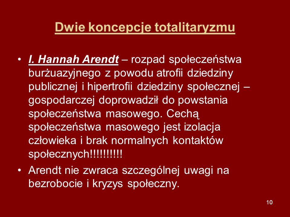 10 Dwie koncepcje totalitaryzmu I. Hannah Arendt – rozpad społeczeństwa burżuazyjnego z powodu atrofii dziedziny publicznej i hipertrofii dziedziny sp