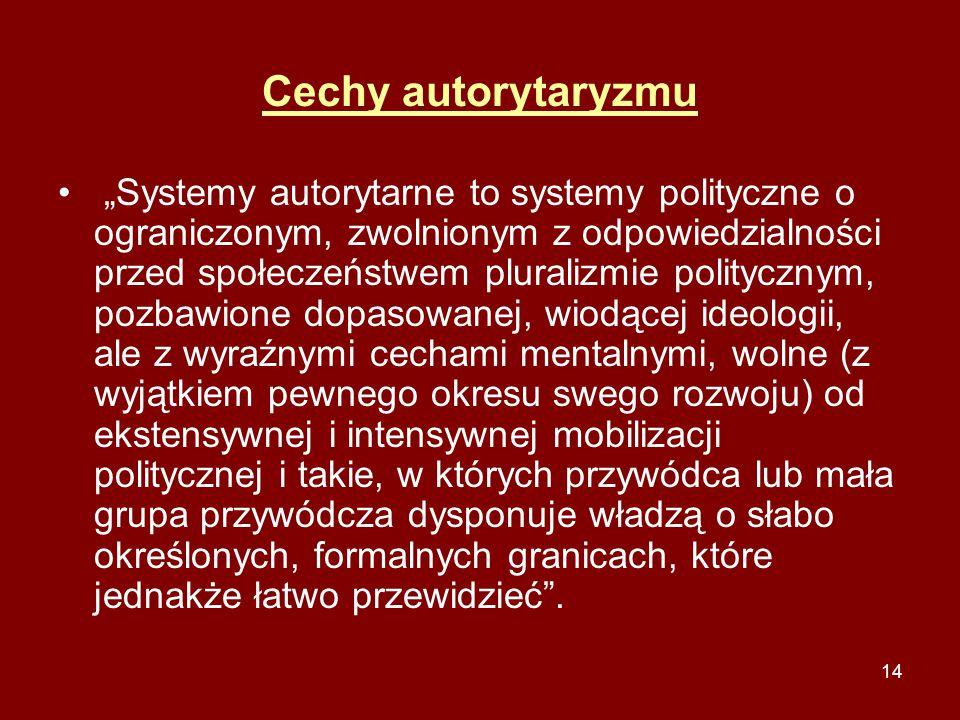 """14 Cechy autorytaryzmu """"Systemy autorytarne to systemy polityczne o ograniczonym, zwolnionym z odpowiedzialności przed społeczeństwem pluralizmie poli"""