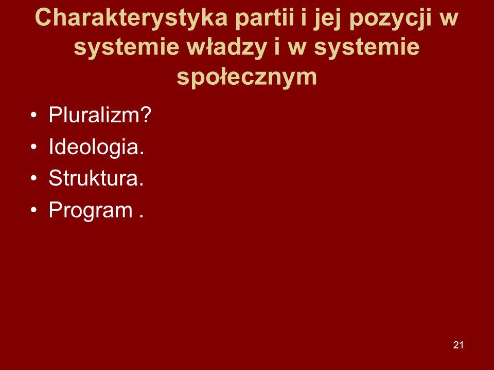 21 Charakterystyka partii i jej pozycji w systemie władzy i w systemie społecznym Pluralizm? Ideologia. Struktura. Program.
