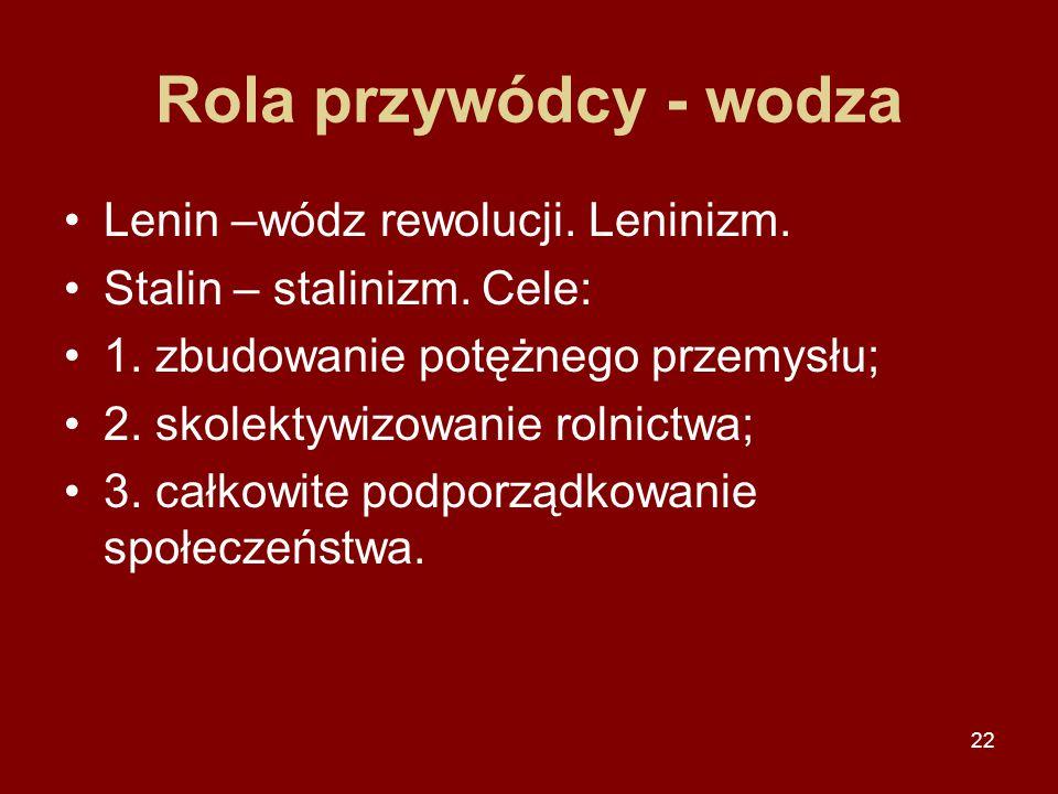 22 Rola przywódcy - wodza Lenin –wódz rewolucji. Leninizm. Stalin – stalinizm. Cele: 1. zbudowanie potężnego przemysłu; 2. skolektywizowanie rolnictwa