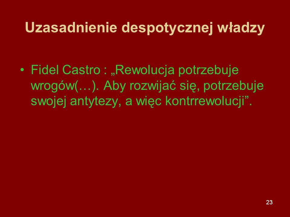 """23 Uzasadnienie despotycznej władzy Fidel Castro : """"Rewolucja potrzebuje wrogów(…). Aby rozwijać się, potrzebuje swojej antytezy, a więc kontrrewolucj"""
