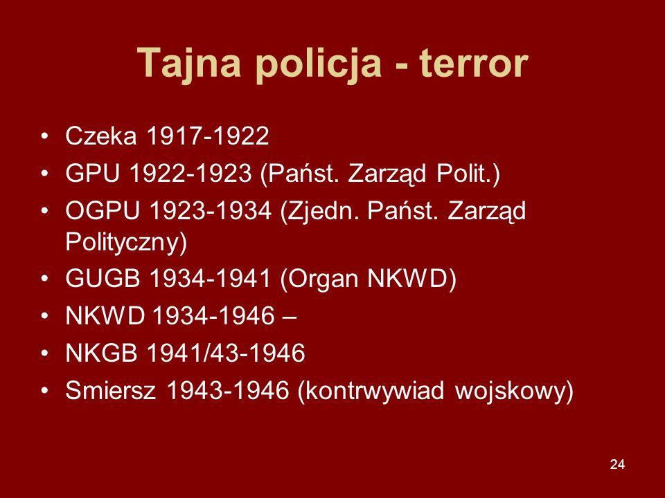 24 Tajna policja - terror Czeka 1917-1922 GPU 1922-1923 (Państ. Zarząd Polit.) OGPU 1923-1934 (Zjedn. Państ. Zarząd Polityczny) GUGB 1934-1941 (Organ