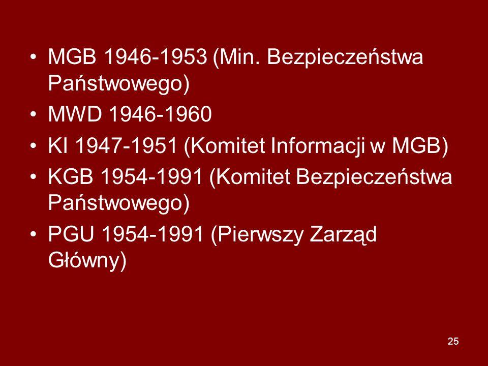 25 MGB 1946-1953 (Min. Bezpieczeństwa Państwowego) MWD 1946-1960 KI 1947-1951 (Komitet Informacji w MGB) KGB 1954-1991 (Komitet Bezpieczeństwa Państwo