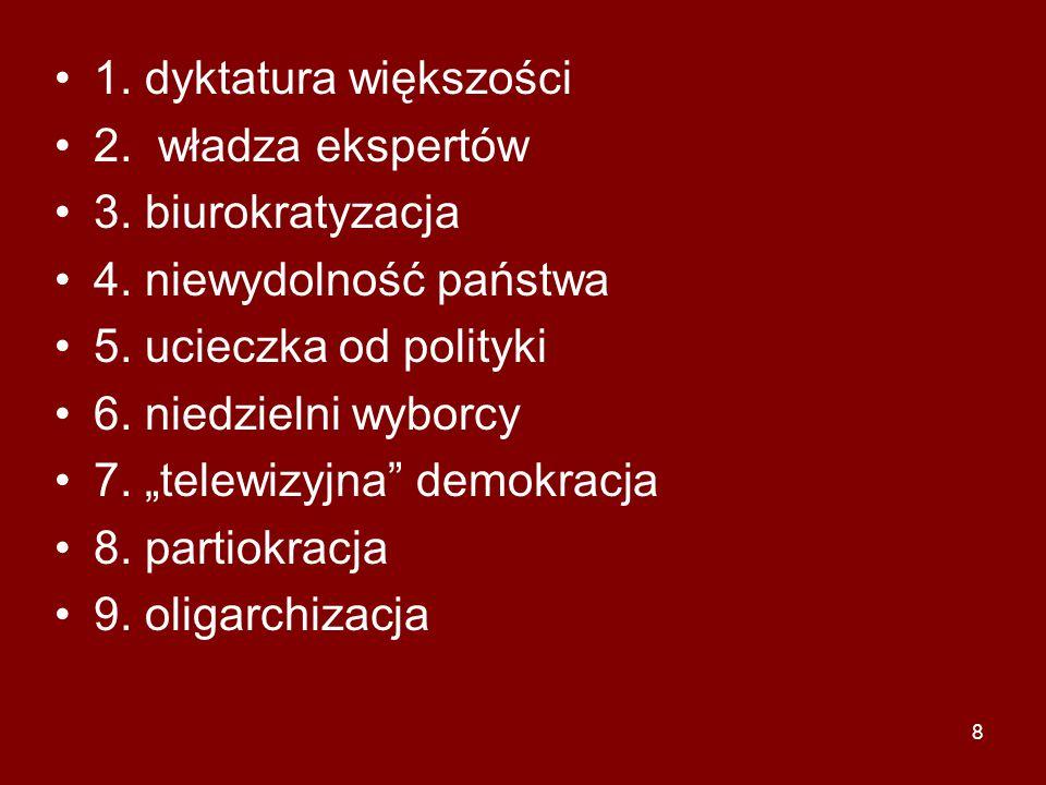 """8 1. dyktatura większości 2. władza ekspertów 3. biurokratyzacja 4. niewydolność państwa 5. ucieczka od polityki 6. niedzielni wyborcy 7. """"telewizyjna"""