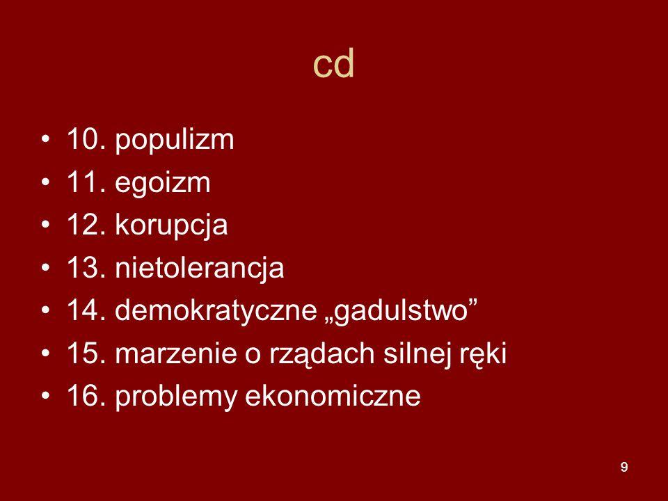 """9 cd 10. populizm 11. egoizm 12. korupcja 13. nietolerancja 14. demokratyczne """"gadulstwo"""" 15. marzenie o rządach silnej ręki 16. problemy ekonomiczne"""