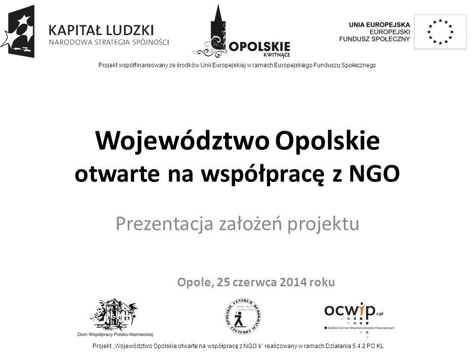 """Podstawowe informacje Projekt realizowany w ramach Programu Operacyjnego Kapitał Ludzki, Poddziałanie 5.4.2 Czas realizacji projektu: 1.03.2014 – 31.03.2015 Lider: Urząd Marszałkowski Partnerzy: OCWIP, OCDL FRDL, DWP-N Projekt współfinansowany ze środków Unii Europejskiej w ramach Europejskiego Funduszu Społecznego Projekt """"Województwo Opolskie otwarte na współpracę z NGO's realizowany w ramach Działania 5.4.2 PO KL"""