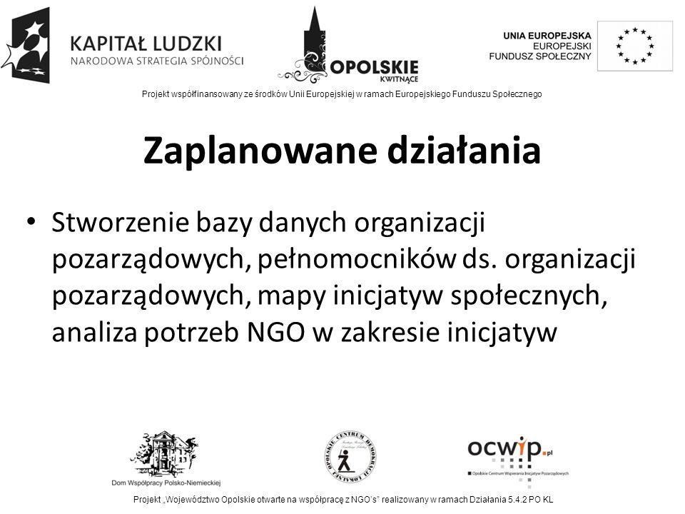 Zaplanowane działania Stworzenie bazy danych organizacji pozarządowych, pełnomocników ds.