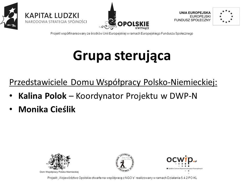 """Grupa sterująca Przedstawiciele Domu Współpracy Polsko-Niemieckiej: Kalina Polok – Koordynator Projektu w DWP-N Monika Cieślik Projekt współfinansowany ze środków Unii Europejskiej w ramach Europejskiego Funduszu Społecznego Projekt """"Województwo Opolskie otwarte na współpracę z NGO's realizowany w ramach Działania 5.4.2 PO KL"""