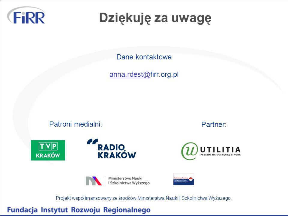 Dziękuję za uwagę Dane kontaktowe anna.rdest@firr.org.pl anna.rdest@ Projekt współfinansowany ze środków Ministerstwa Nauki i Szkolnictwa Wyższego.