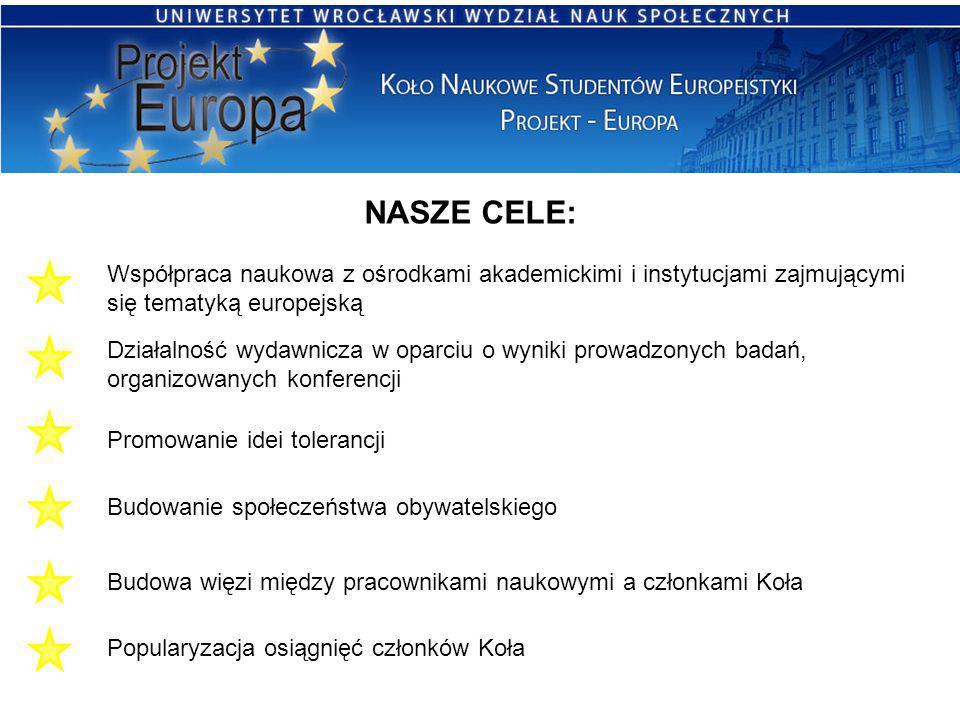 NASZE CELE: Współpraca naukowa z ośrodkami akademickimi i instytucjami zajmującymi się tematyką europejską Działalność wydawnicza w oparciu o wyniki p