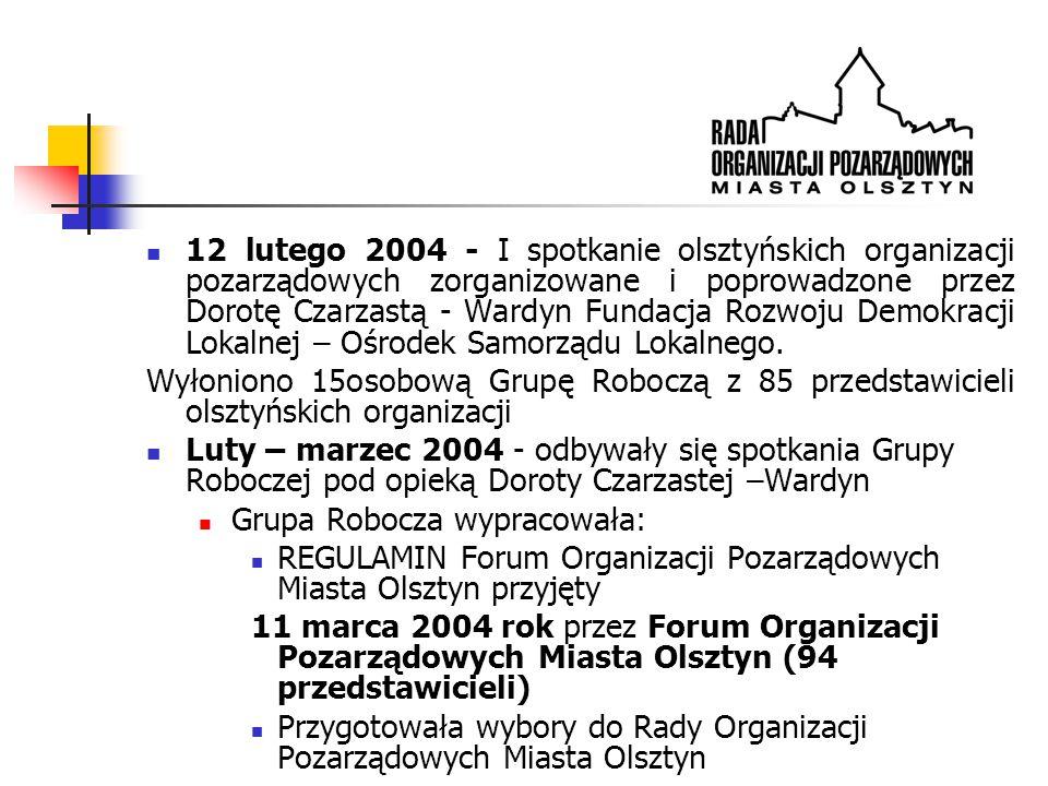 12 lutego 2004 - I spotkanie olsztyńskich organizacji pozarządowych zorganizowane i poprowadzone przez Dorotę Czarzastą - Wardyn Fundacja Rozwoju Demokracji Lokalnej – Ośrodek Samorządu Lokalnego.
