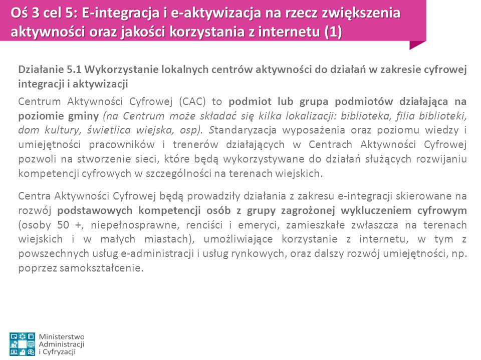 Oś 3 cel 5: E-integracja i e-aktywizacja na rzecz zwiększenia aktywności oraz jakości korzystania z internetu (1) Działanie 5.1 Wykorzystanie lokalnyc