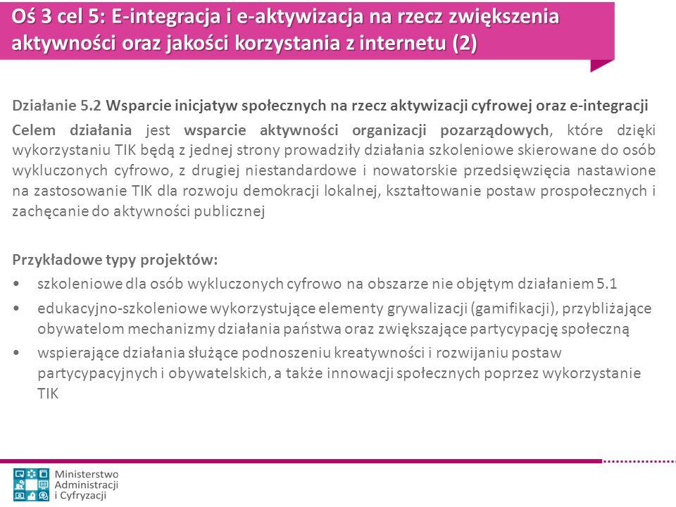 Oś 3 cel 5: E-integracja i e-aktywizacja na rzecz zwiększenia aktywności oraz jakości korzystania z internetu (2) Działanie 5.2 Wsparcie inicjatyw spo