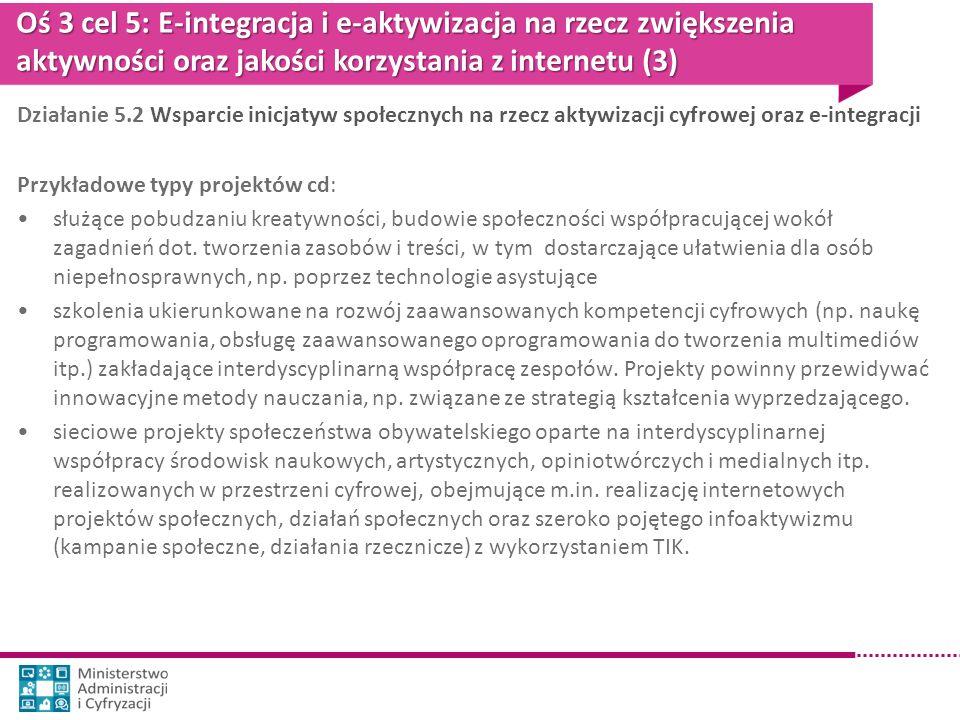 Oś 3 cel 5: E-integracja i e-aktywizacja na rzecz zwiększenia aktywności oraz jakości korzystania z internetu (3) Działanie 5.2 Wsparcie inicjatyw spo