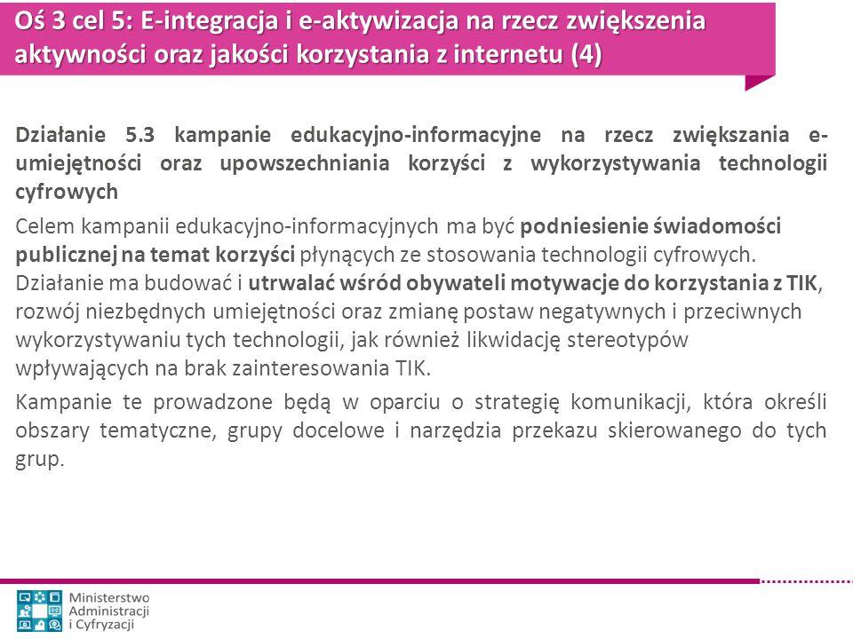 Oś 3 cel 5: E-integracja i e-aktywizacja na rzecz zwiększenia aktywności oraz jakości korzystania z internetu (4) Działanie 5.3 kampanie edukacyjno-in