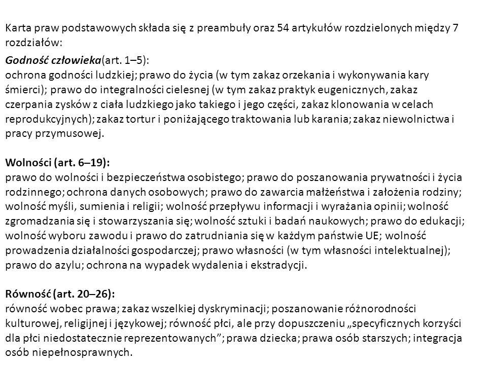 Karta praw podstawowych składa się z preambuły oraz 54 artykułów rozdzielonych między 7 rozdziałów: Godność człowieka(art. 1–5): ochrona godności ludz