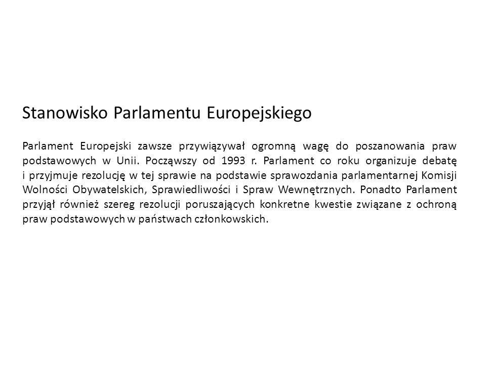 Stanowisko Parlamentu Europejskiego Parlament Europejski zawsze przywiązywał ogromną wagę do poszanowania praw podstawowych w Unii. Począwszy od 1993