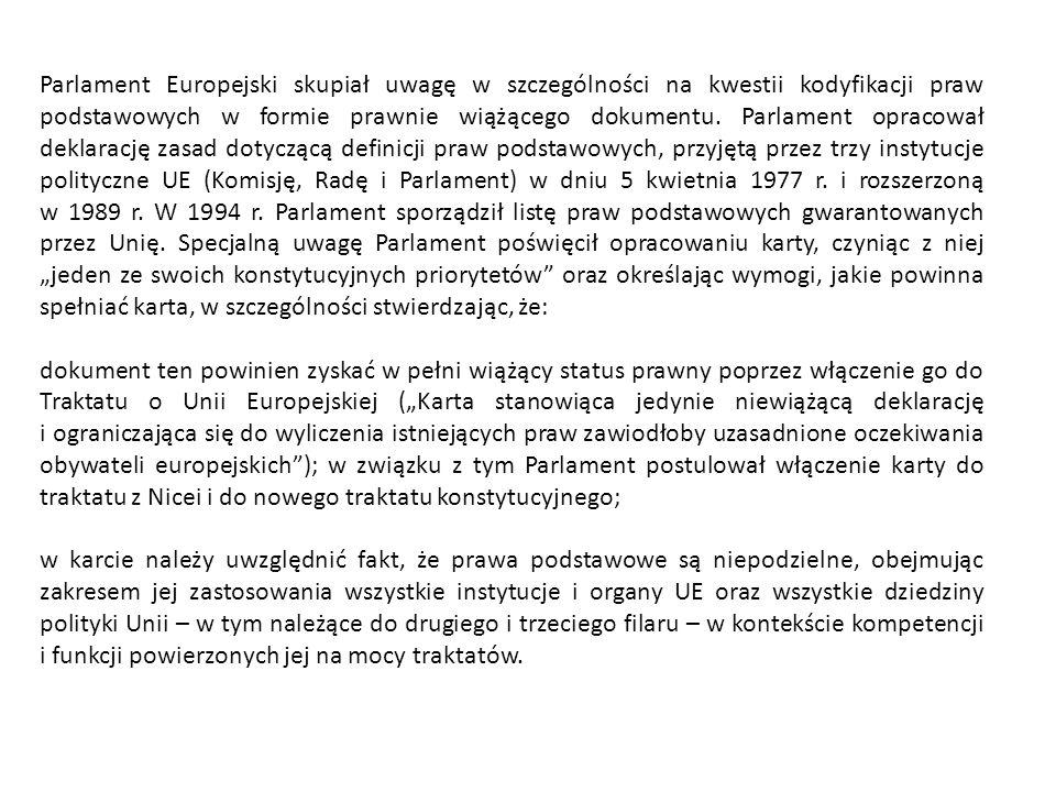Parlament Europejski skupiał uwagę w szczególności na kwestii kodyfikacji praw podstawowych w formie prawnie wiążącego dokumentu. Parlament opracował