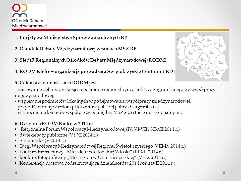 1. Inicjatywa Ministerstwa Spraw Zagranicznych RP 2.