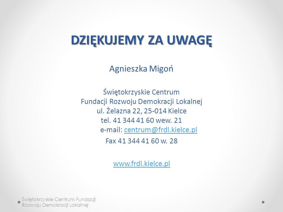 DZIĘKUJEMY ZA UWAGĘ Agnieszka Migoń Świętokrzyskie Centrum Fundacji Rozwoju Demokracji Lokalnej ul.