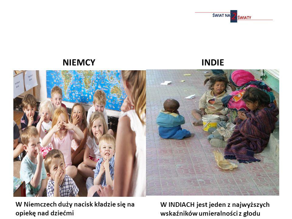 NIEMCYINDIE W INDIACH jest jeden z najwyższych wskaźników umieralności z głodu W Niemczech duży nacisk kładzie się na opiekę nad dziećmi