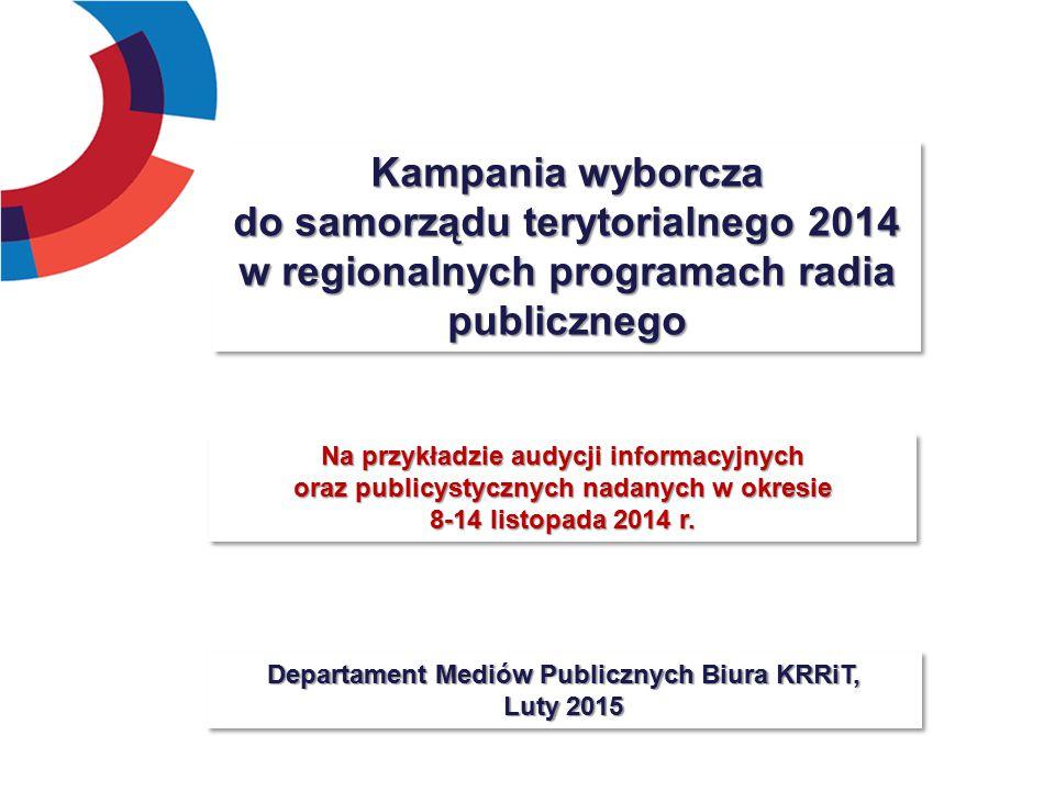 Kampania wyborcza do samorządu terytorialnego 2014 w regionalnych programach radia publicznego Departament Mediów Publicznych Biura KRRiT, Luty 2015 Na przykładzie audycji informacyjnych oraz publicystycznych nadanych w okresie 8-14 listopada 2014 r.