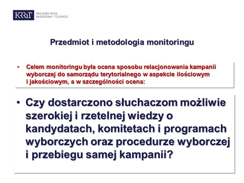 Przedmiot i metodologia monitoringu Celem monitoringu była ocena sposobu relacjonowania kampanii wyborczej do samorządu terytorialnego w aspekcie ilościowym i jakościowym, a w szczególności ocena:Celem monitoringu była ocena sposobu relacjonowania kampanii wyborczej do samorządu terytorialnego w aspekcie ilościowym i jakościowym, a w szczególności ocena: Udziału i rangi tematyki wyborczejUdziału i rangi tematyki wyborczej Rodzaju przekazywanych informacji wyborczych i merytoryczności kampaniiRodzaju przekazywanych informacji wyborczych i merytoryczności kampanii Zachowania równowagi dostępu oraz neutralności w sposobie prezentacji kandydatów, komitetów i ich programówZachowania równowagi dostępu oraz neutralności w sposobie prezentacji kandydatów, komitetów i ich programów Czy dostarczono słuchaczom możliwie szerokiej i rzetelnej wiedzy o kandydatach, komitetach i programach wyborczych oraz procedurze wyborczej i przebiegu samej kampanii?Czy dostarczono słuchaczom możliwie szerokiej i rzetelnej wiedzy o kandydatach, komitetach i programach wyborczych oraz procedurze wyborczej i przebiegu samej kampanii?