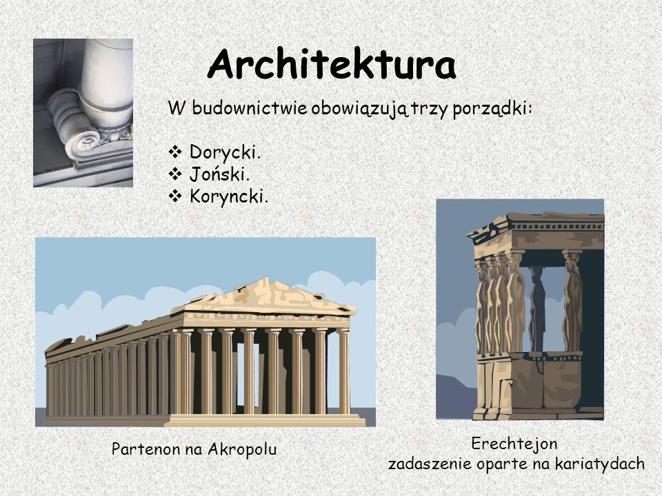 Architektura W budownictwie obowiązują trzy porządki:  Dorycki.  Joński.  Koryncki. Partenon na Akropolu Erechtejon zadaszenie oparte na kariatydac