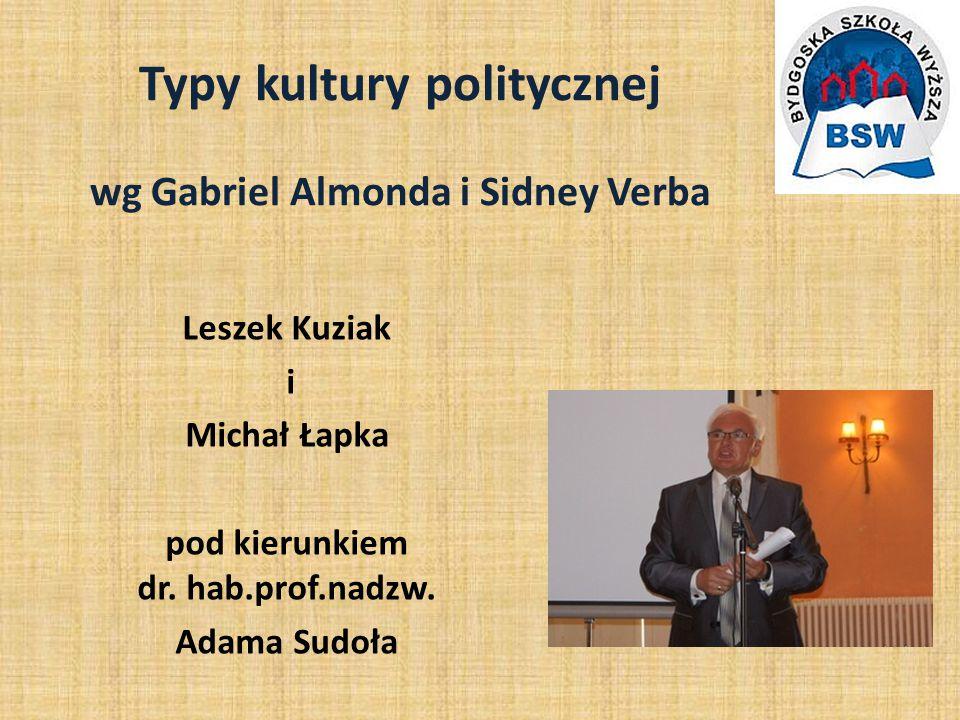 Typy kultury politycznej wg Gabriel Almonda i Sidney Verba Leszek Kuziak i Michał Łapka pod kierunkiem dr.