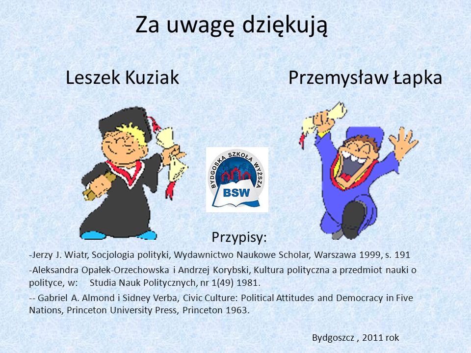 Za uwagę dziękują Leszek Kuziak Przemysław Łapka Przypisy: -Jerzy J.