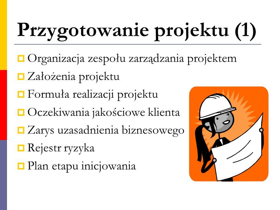 Przygotowanie projektu (1)  Organizacja zespołu zarządzania projektem  Założenia projektu  Formuła realizacji projektu  Oczekiwania jakościowe kli