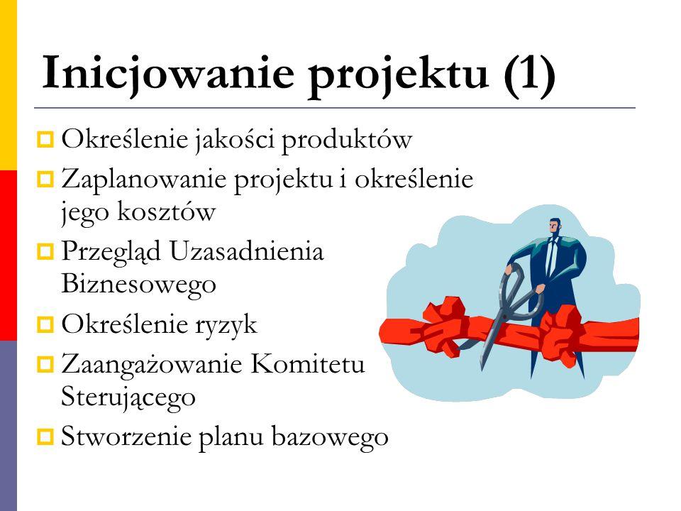 Inicjowanie projektu (1)  Określenie jakości produktów  Zaplanowanie projektu i określenie jego kosztów  Przegląd Uzasadnienia Biznesowego  Określ