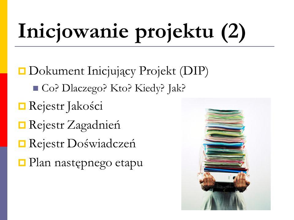 Inicjowanie projektu (2)  Dokument Inicjujący Projekt (DIP) Co? Dlaczego? Kto? Kiedy? Jak?  Rejestr Jakości  Rejestr Zagadnień  Rejestr Doświadcze