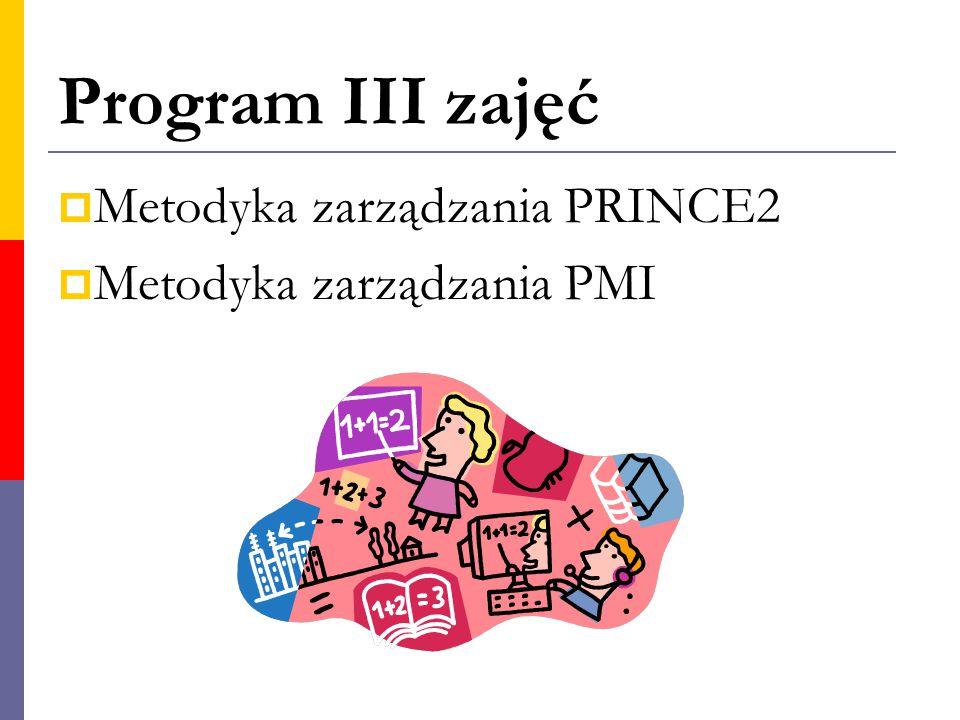Program III zajęć  Metodyka zarządzania PRINCE2  Metodyka zarządzania PMI