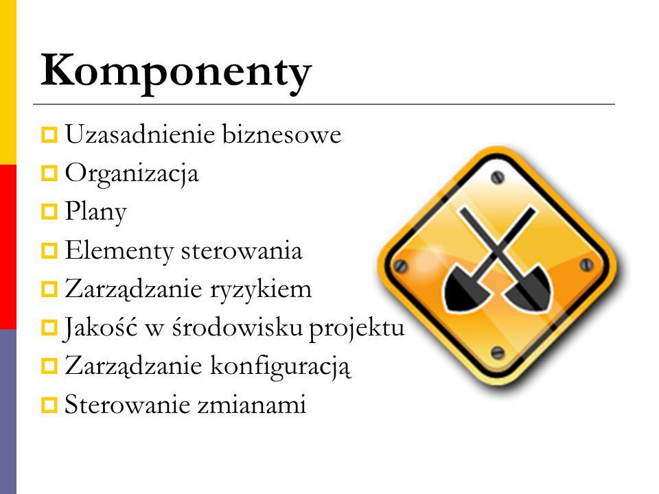 Komponenty  Uzasadnienie biznesowe  Organizacja  Plany  Elementy sterowania  Zarządzanie ryzykiem  Jakość w środowisku projektu  Zarządzanie ko