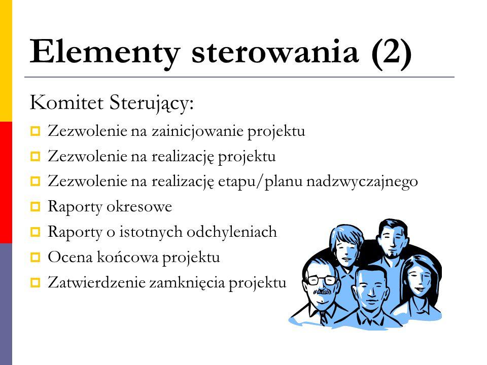 Elementy sterowania (2) Komitet Sterujący:  Zezwolenie na zainicjowanie projektu  Zezwolenie na realizację projektu  Zezwolenie na realizację etapu