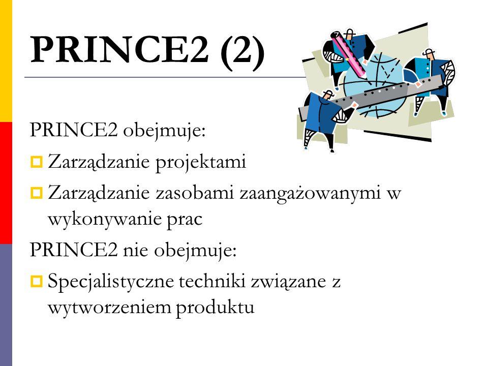 PRINCE2 (2) PRINCE2 obejmuje:  Zarządzanie projektami  Zarządzanie zasobami zaangażowanymi w wykonywanie prac PRINCE2 nie obejmuje:  Specjalistyczn