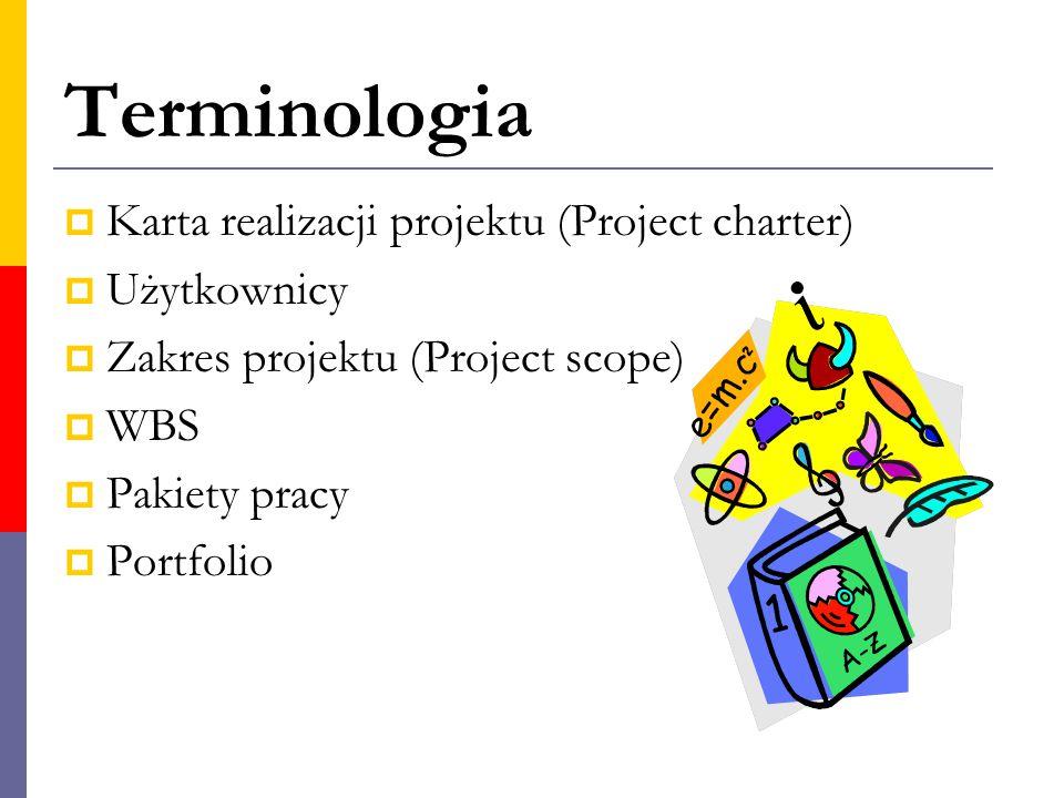Terminologia  Karta realizacji projektu (Project charter)  Użytkownicy  Zakres projektu (Project scope)  WBS  Pakiety pracy  Portfolio
