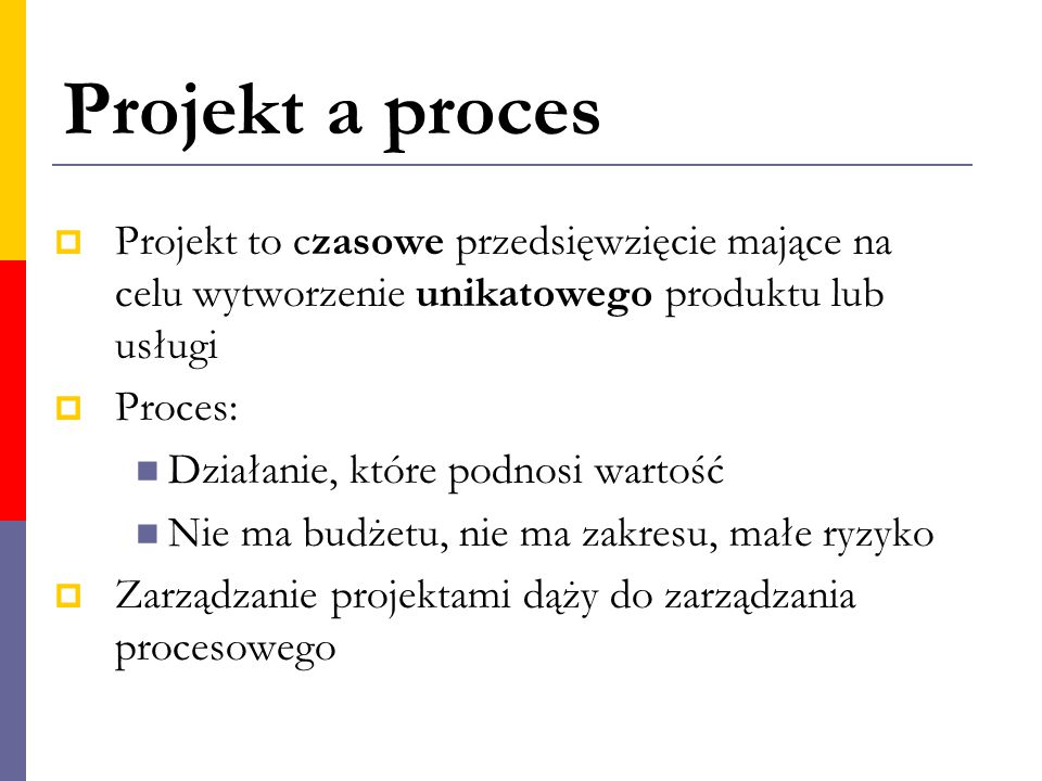 Projekt a proces  Projekt to czasowe przedsięwzięcie mające na celu wytworzenie unikatowego produktu lub usługi  Proces: Działanie, które podnosi wa