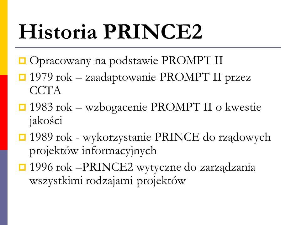 Historia PRINCE2  Opracowany na podstawie PROMPT II  1979 rok – zaadaptowanie PROMPT II przez CCTA  1983 rok – wzbogacenie PROMPT II o kwestie jako