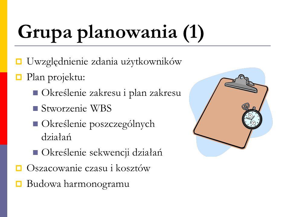 Grupa planowania (1)  Uwzględnienie zdania użytkowników  Plan projektu: Określenie zakresu i plan zakresu Stworzenie WBS Określenie poszczególnych d