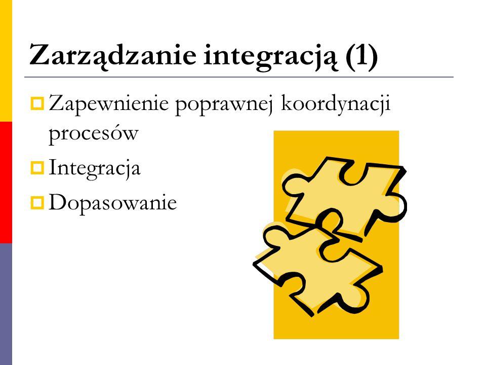 Zarządzanie integracją (1)  Zapewnienie poprawnej koordynacji procesów  Integracja  Dopasowanie
