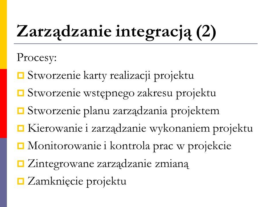 Zarządzanie integracją (2) Procesy:  Stworzenie karty realizacji projektu  Stworzenie wstępnego zakresu projektu  Stworzenie planu zarządzania proj