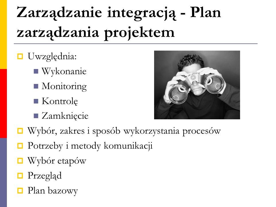 Zarządzanie integracją - Plan zarządzania projektem  Uwzględnia: Wykonanie Monitoring Kontrolę Zamknięcie  Wybór, zakres i sposób wykorzystania proc