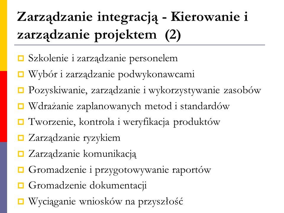 Zarządzanie integracją - Kierowanie i zarządzanie projektem (2)  Szkolenie i zarządzanie personelem  Wybór i zarządzanie podwykonawcami  Pozyskiwan
