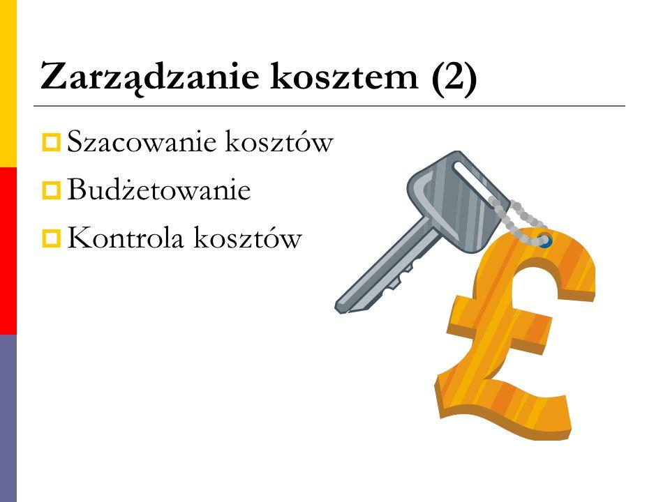 Zarządzanie kosztem (2)  Szacowanie kosztów  Budżetowanie  Kontrola kosztów