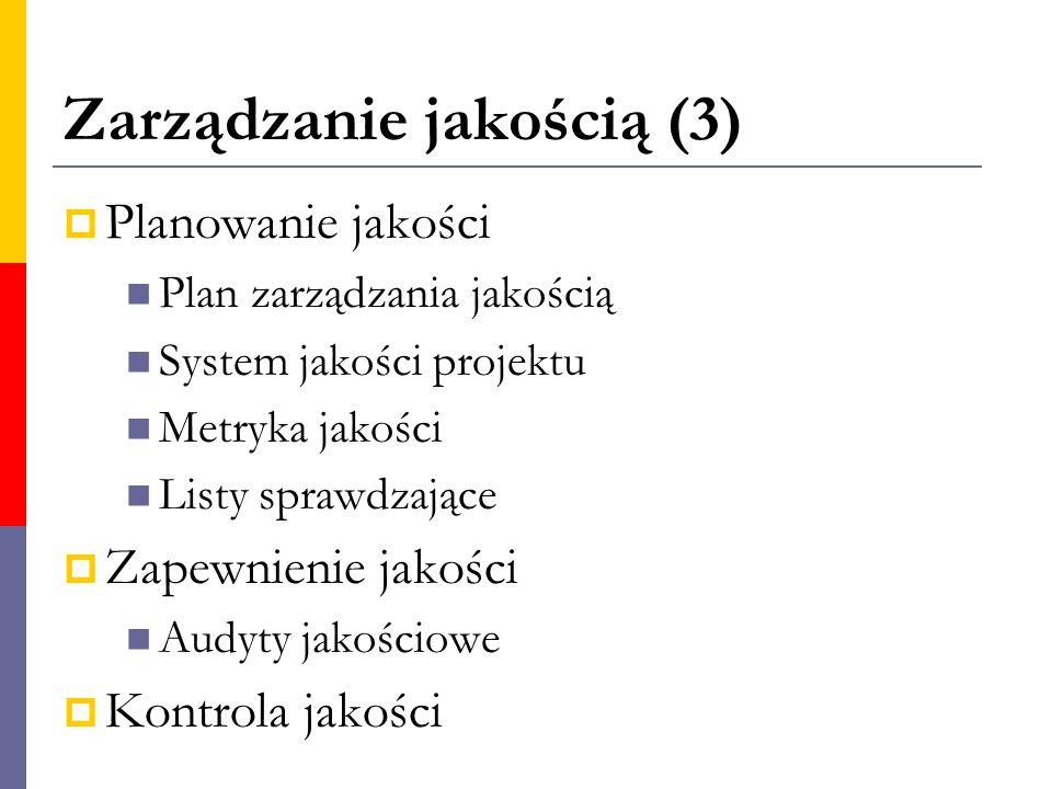 Zarządzanie jakością (3)  Planowanie jakości Plan zarządzania jakością System jakości projektu Metryka jakości Listy sprawdzające  Zapewnienie jakoś