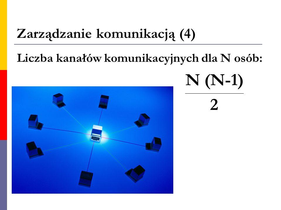 Zarządzanie komunikacją (4) Liczba kanałów komunikacyjnych dla N osób: N (N-1) 2